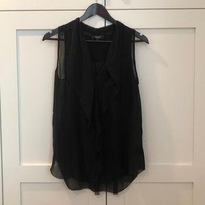 Black collared sleeveless top